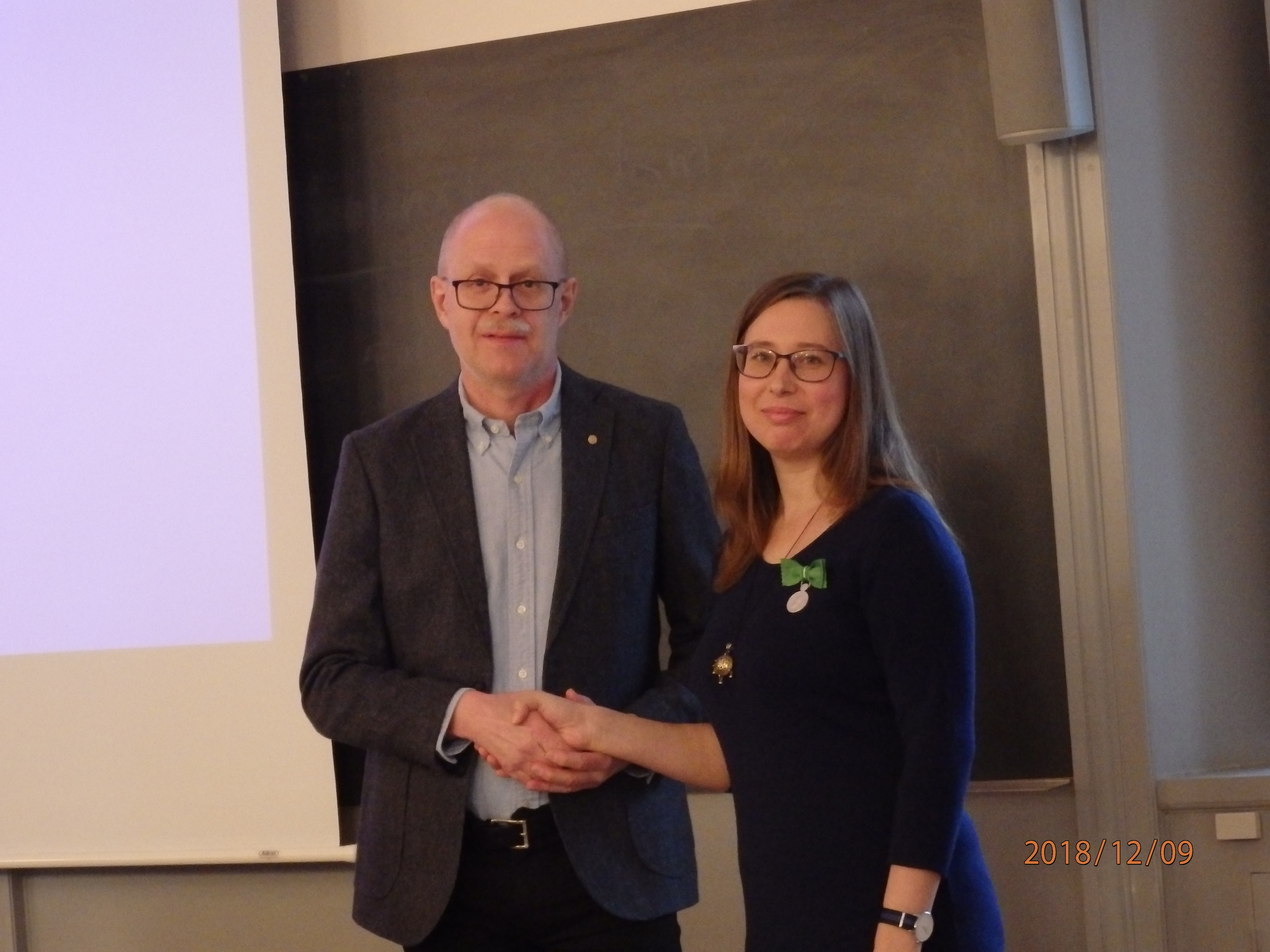 Chairman of the Swedish numismatic society Mr Jan-Olof Björk and author of the book Julia Krasnobaeva